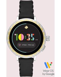 Kate Spade Scallop Black Silicone Strap Touchscreen Smart Watch 41mm, Powered By Wear Os By Googletm
