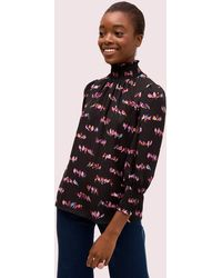 Kate Spade Love Birds Smocked Neck Blouse - Black