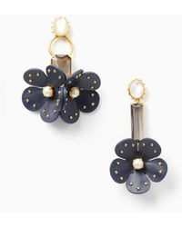 Kate Spade - Blooming Bling Leather Asymmetrical Earrings - Lyst