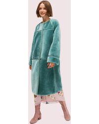 Kate Spade Shearling Leather Trim Coat - Blue