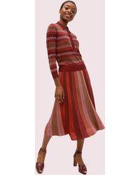 Kate Spade Metallic Stripe Knit Skirt - Red