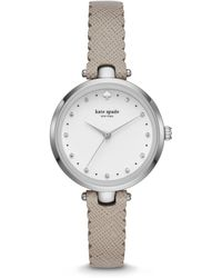 Kate Spade - Holland Scallop Grey Leather Watch - Lyst