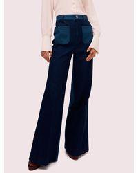 Kate Spade Colorblock Denim Flare Pant - Blue