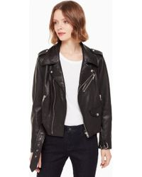 Kate Spade - Leather Moto Jacket - Lyst