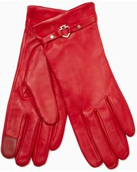 Kate Spade Cut Out Spade Leather Gloves - Red