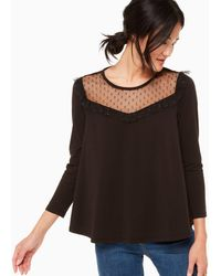 Kate Spade Point D'esprit Knit Top - Black