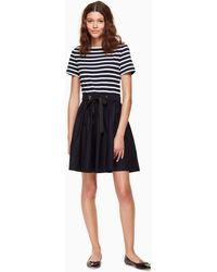 Kate Spade - Stripe Knit Mixed Media Dress - Lyst