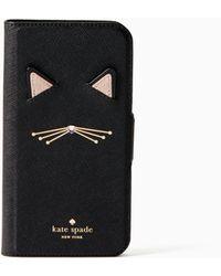 Kate Spade - Cat Applique Iphone X & Xs Folio Case - Lyst