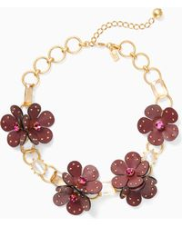 Kate Spade - Blooming Bling Leather Statement Necklace - Lyst