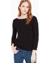 Kate Spade - Scallop Neck Knit Top - Lyst