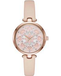 Kate Spade - Holland Heart Vachetta Leather Watch - Lyst