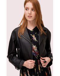 76e92aa93 Kate Spade Linnea Leather Moto Jacket in Brown - Lyst