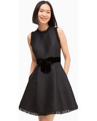 Kate Spade Velvet Bow Fit And Flare Dress - Black