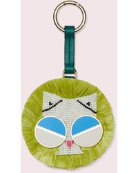 Kate Spade Spademals Raffia Smitten Kitten Dangle Keychain - Multicolour