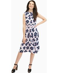 Kate Spade Mainline Grand Flora Smocked Waist Dress - Blue