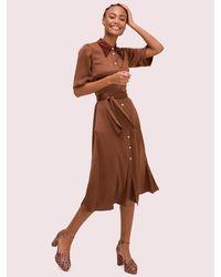 Kate Spade Satin Smocked Back Shirtdress - Brown