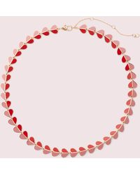 Kate Spade Heritage Spade Enamel Heart Necklace - Pink Multi - One Size