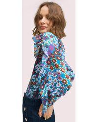 Kate Spade Pacific Petals Chiffon Blouse - Blue