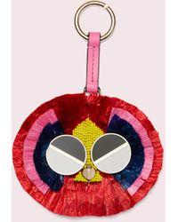 Kate Spade Spademals Raffia Preeny Peacock Dangle Keychain - Red