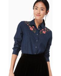 Kate Spade - Embroidered Chambray Top - Lyst