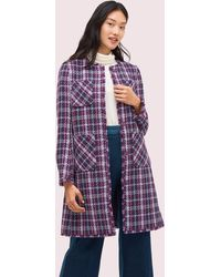 Kate Spade Plaid Tweed Coat - Purple
