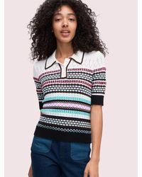 Kate Spade Texture Mix Polo Sweater - Blue