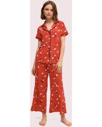 Kate Spade Small Poppies Long Pj Set - Red