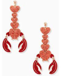 Kate Spade Love Lobster Statement Earrings - Red