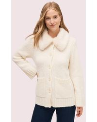 Kate Spade Faux Fur Collar Cardigan - Natural
