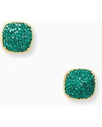 Kate Spade Earrings Clay Pave Small Square Studs - Green