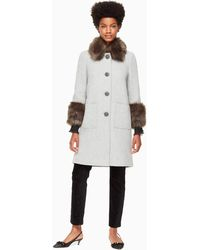 Kate Spade - Faux Fur Trim Coat - Lyst