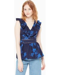 Kate Spade - Hibiscus Ruffle Neck Top - Lyst