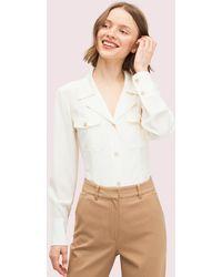 Kate Spade Silk Pocket Shirt - White