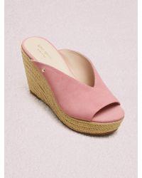 510e8f0561fa Kate Spade Theodora Cork Wedge Sandal Pink in Pink - Lyst
