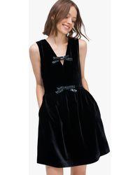 Kate Spade Sequin-bow Velvet Dress - Black