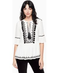 Kate Spade - Pom Embroidered Top - Lyst