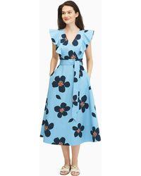 Kate Spade Grand Flora Poplin Midi Dress - Blue