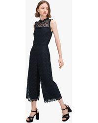 Kate Spade Scallop-trim Lace Jumpsuit - Black