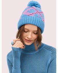 Kate Spade Spade Argyle Pom Pom Hat - Blue