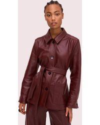 cdfea3d84 Leather Tie Waist Jacket - Red