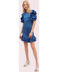 Kate Spade Geo Dot Satin Shift Dress - Blue