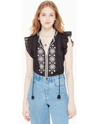 Kate Spade - Mosaic Embroidered Tassel Top - Lyst