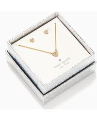 Kate Spade Yours Truly Pave Studs And Mini Pendant - Metallic