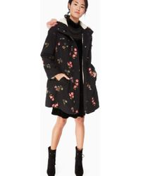Kate Spade Embroidered Twill Coat - Black