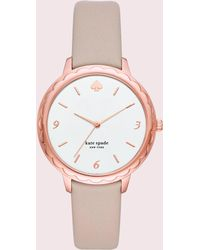 Kate Spade - Morningside Taupe Leather Strap Watch - Lyst