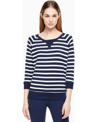 Kate Spade Modal Terry Bow Cut Out Sweatshirt - Blue