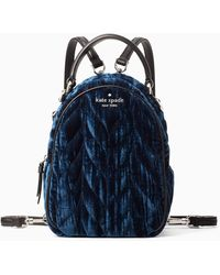 Kate Spade Briar Lane Quilted Crushed Velvet Mini Convertible Backpack - Blue
