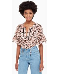Kate Spade Floral Mosaic Chiffon Top - Multicolor