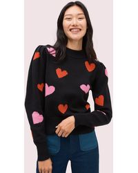 Kate Spade Hearts Mock Neck Sweater - Black