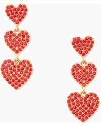 Kate Spade | Yours Truly Pave Heart Triple Drop Earrings | Lyst